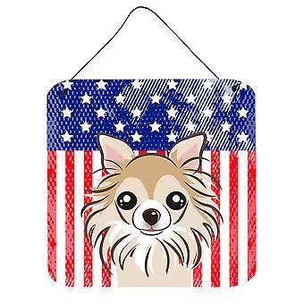 Amerykańską flagę i Chihuahua ściany lub drzwi wiszące drukuje