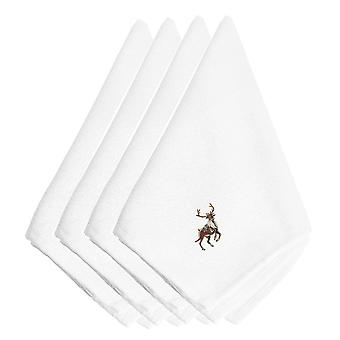 Christmas Reindeer Embroidered Napkins Set of 4