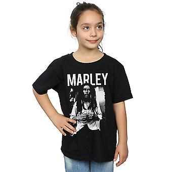 ボブ ・ マーリーの女の子黒と白の写真 t シャツ