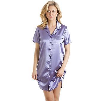 Camille luksuriøse Knælængde lilla Satin natskjorte