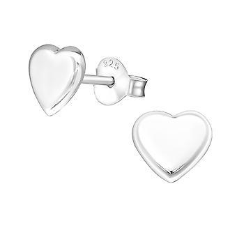 Heart - 925 Sterling Silver Plain Ear Studs - W19238X