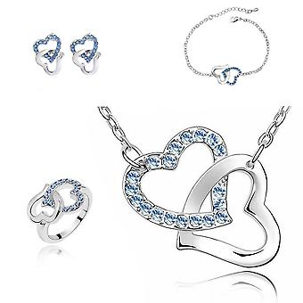 Womens Blue Crystal Hearts Intertwined Set With Matching Necklace, Earrings, Bracelet And Ring