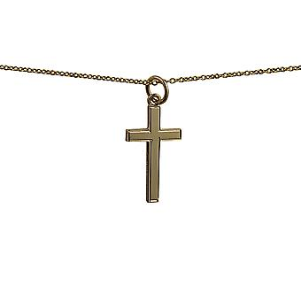 9ct Gold 20x12mm engine turned line border solid block Cross with a cable Chain 16 inches Only Suitable for Children