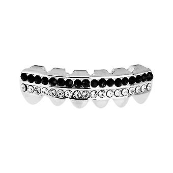 One size fits all bling Grillz - DOUBLE DECK BOTTOM - silver