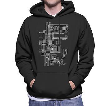 ZX Spectrum Computer Schematic Men's Hooded Sweatshirt