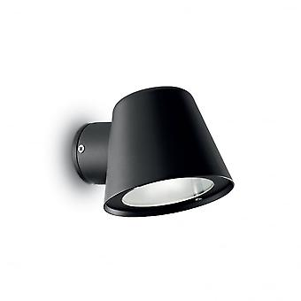 Ideal Lux OutdoorGas Black Pot Shaped Wall Downlight GU10