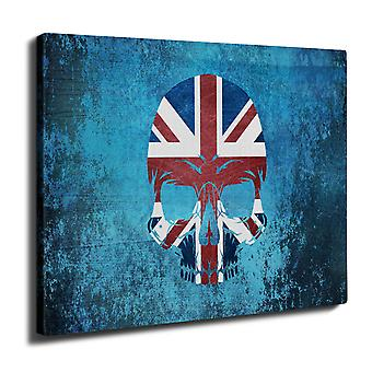Skull Metal Flag Death Wall Art Canvas 40cm x 30cm | Wellcoda
