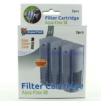 SuperFish Aqua Flow 50 let Klik akvarium Filter Cartridge (3stk)