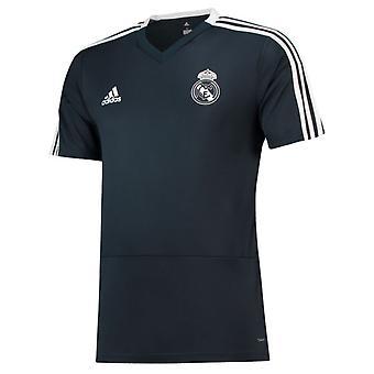 2018-2019 ريال مدريد أديداس قميص التدريب (رمادي داكن)-للأطفال