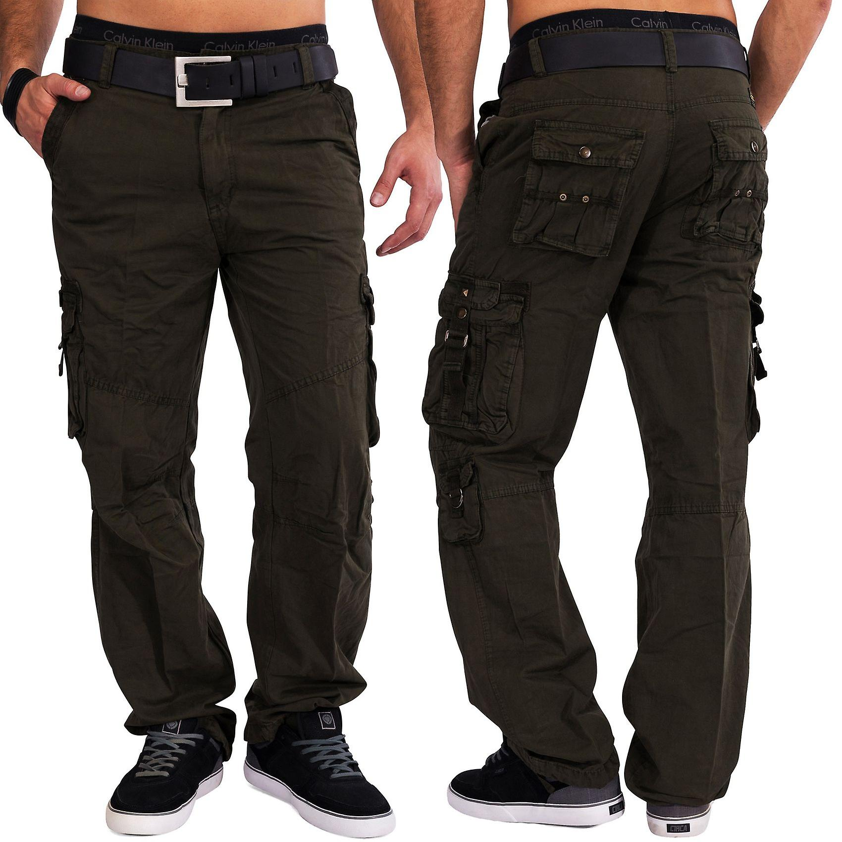 Mens Cargo Pants Funcional Loose Fit 100 Cotton Work Trousers Cargo