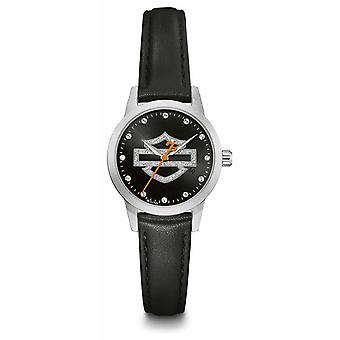 Harley Davidson Women's Crystal Set Black Logo Dial Black Leather Strap 76L181 Watch