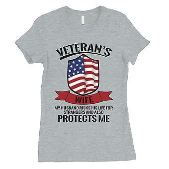 Veterani moglie regalo camicia Womens grigio sveglio 4 luglio Abiti per lei