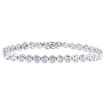 Iced out 925 sterling silver bracelet - lunette TENNIS 5mm