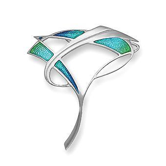 Sterling Silver tradičné Pat Cheney Design brošňa-Hot Glass smalt