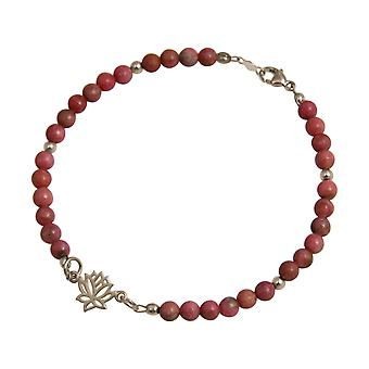 Gemshine Women's Bracelet 925 Silver Lotus Flower Gemstone Pink YOGA Case