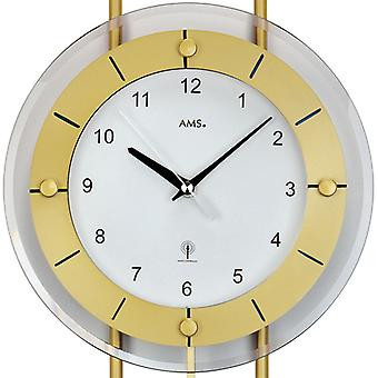 AMS wall clock 5255 with pendulum radio mineral glass with brass lacquered metal bars