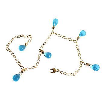 Blautopaz blå topas blue Topas armbånd Guld belagte