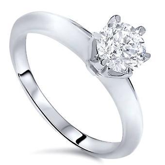 1/2ct יהלום טבעת אירוסין 14 k לבן זהב