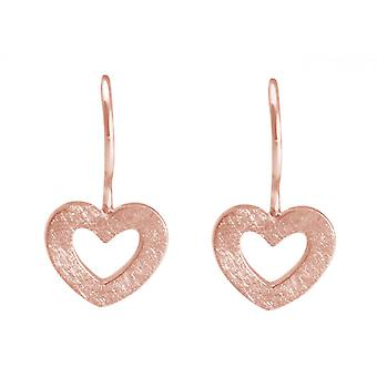 Ladies heart earrings 925 Silver rose gold-plated 20mm