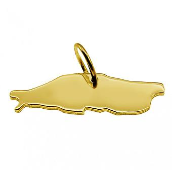 Släpvagn karta hängsmycken i guld gul-guld i form av BALTRUM