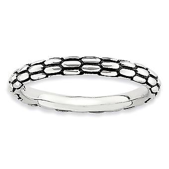 2.5mm 925 Sterling Silver Poli Expressions empilables Bague Bijoux Cadeaux pour les femmes - Taille de l'anneau: 5 à 10