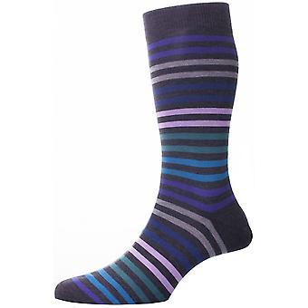 Pantherella Kilburn Double Colour Striped Cotton Lisle Socks - Dark Grey
