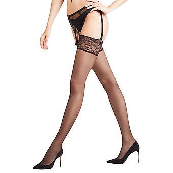 Falke Seidenglatt 15 Den Hold Up Transparent Stockings - Black