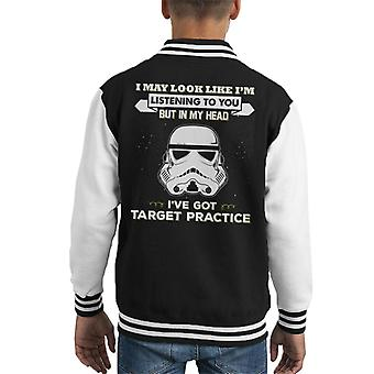 Original Stormtrooper I May Look Like Im Listening To You Kid's Varsity Jacket
