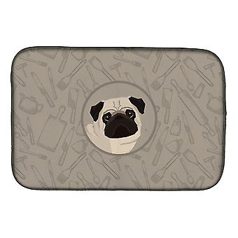 Carolines Treasures  CK2204DDM Pug In the Kitchen Dish Drying Mat
