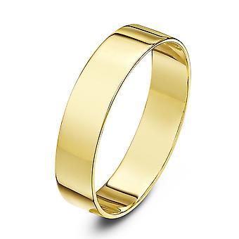 Star Wedding Rings 18ct Yellow Gold Light Flat 5mm Wedding Ring