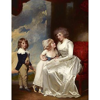 De gravin van Warwick en haar kinderen, George Romney, 50x40cm
