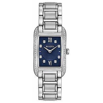 Bulova naisten Diamond Set Black Dial ruostumattomasta teräksestä ranne koru 96R211 Watch