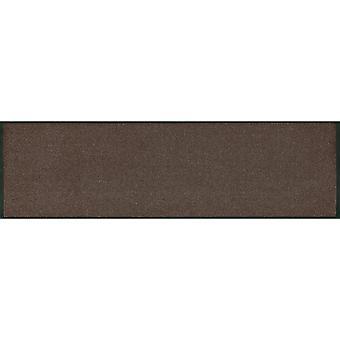 wash+dry Minimatte Brown mit Rand Schuhablage Stufenmatte waschbare Fußmatte