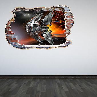 اللون الكامل بدون طيار حطموا الجدار تأثير 3D الجدار ملصقا