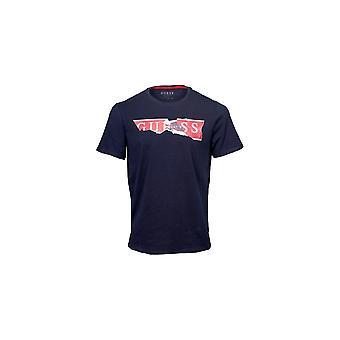 GUESS Navy Ripped Logo T-shirt