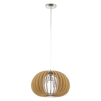 Eglo - Cossano Single Light Oval Ceiling Pendant In Satin Nickel And Maple Wood Finish EG94767