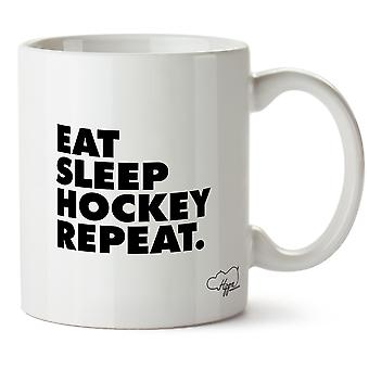 Hippowarehouse spise søvn Hockey gjenta trykte krus Cup keramiske 10 Unzen