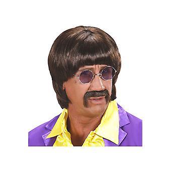 Perücken Männer braun 60er Jahre Perücke mit Schnurrbart