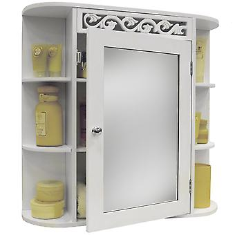 Scroll - Wall Mounted Bathroom Mirror Wall Storage Cabinet With Shelves - White