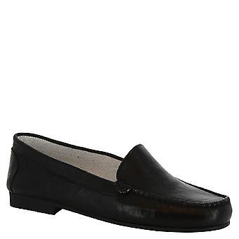 Leonardo schoenen vrouwen handgemaakte slip-on mocassins in zwart kalf leer