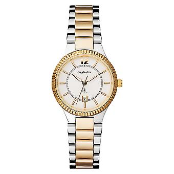 ORPHELIA Ladies Analogue Watch Edel Silver/Gold Stainless steel 122-3701-82
