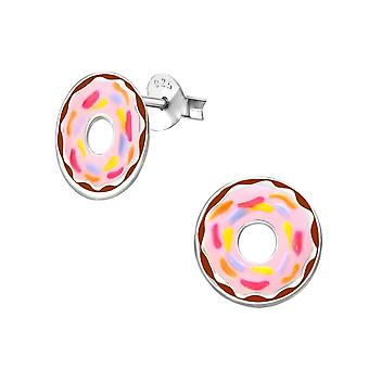 Children's Sterling Silver Pink Doughnut Stud Earrings