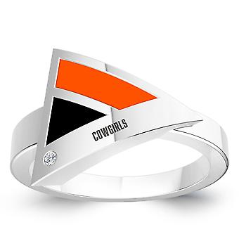 Oklahoma State University Engraved Sterling Silver Diamond Geometric Ring In Black and Orange