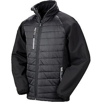Result - Black Compass Padded Softshell Mens Jacket
