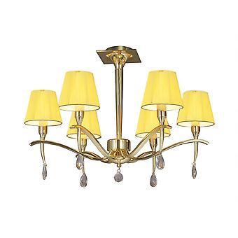Mantra Siena semi plafond ronde 6 licht E14, gepolijst messing met Amber crème tinten en duidelijke Crystal