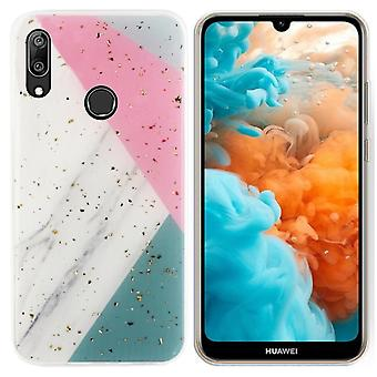 Huawei P30 Lite Case Grey with Pink and Turquoise -Marble