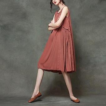 Pleated Thin A-line Sundress Dress