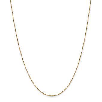 14k Sarı Altın Masif Cilalı Yaylı Ring .8mm Kablo Zinciri Kolye - Uzunluk: 14-24