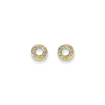 14k Yellow Gold Polished CZ Cubic Zirconia Simulated Diamond Circle Post Earrings Jewelry Gifts for Women