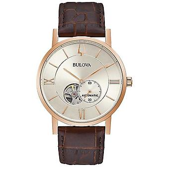 Bulova | Mens | Automatic | Brown Leather Strap | Silver Dial | 97A150 Watch